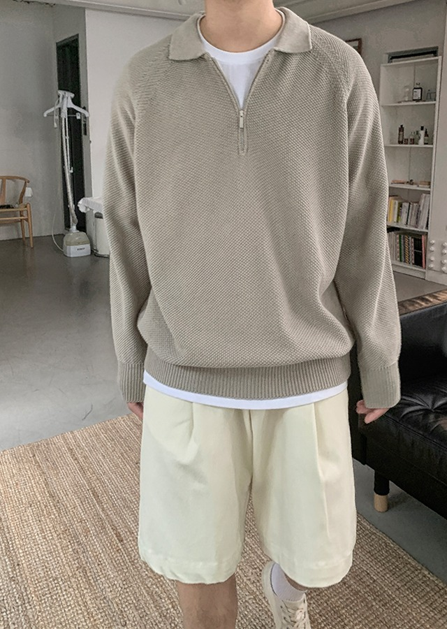 If Zip-Up Collar Knit (4color)