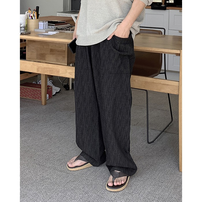 Wave Linen Wide Pants (4color)