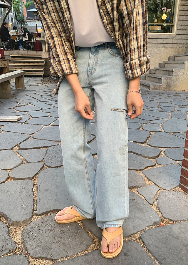 Side Cutting Wide Denim Pants
